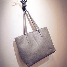 Retro casual women large capacity luxury handbags girl scrub leather tote bag ladies black grey designer shopping shoulder bag Online Order
