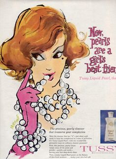1960 Ad Tussy Advertising Lady with Pearls Red by OldPaperAndPages. via Etsy.