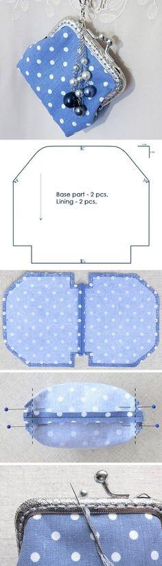 Coin Purse Tutorial Sew cute mini purse with clasp.Sew cute mini purse with clasp. Diy Bags Purses, Diy Purse, Cute Purses, Purse Patterns, Sewing Patterns, Tote Pattern, Wallet Pattern, Coin Purse Pattern, Sew Pattern