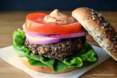 Red Quinoa and Black Bean Veggie Burgers ~ this meatless burger is hearty and full of flavor ~ you won't miss the meat one bit!