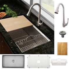 Ticor Stainless Steel Kitchen Sink and Brushed Nickel Kitchen Faucet Combo     also includes a mini drip dry rack for items