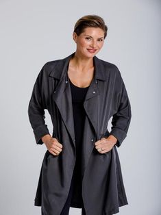 City Trench on sale now! Just in time for fall! Sleek Look, Sophisticated Style, Get The Look, Army Green, Trench, Raincoat, Dress Up, Leather Jacket, Hoodies