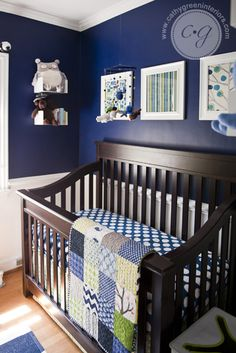 Come see how we decorated Baby Boy Green's nursery! A navy blue and green color scheme sets the stage for this sweet boy's nursery.