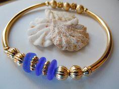 Blue Sea Glass Bracelet Beach Glass Jewelry by BeachGlassMemories, $29.50
