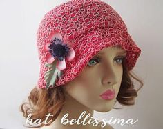 SALE red 1920s Cloche Hat flowers cotton Lace fabric Vintage Style hat hatbellissima Summer Hats Hats with a Brooch