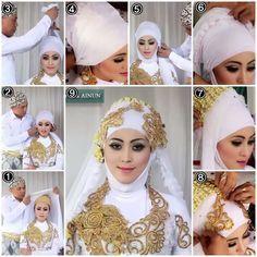 Tutorial Hijab Kebaya Pengantin Muslim Modern #1/ Kebaya Wedding Hijab Tutorial part 1 Kebaya Wedding, Wedding Hijab, Hijab Fashion, Fashion Outfits, Bridal Hijab, Hijab Tutorial, Mode Hijab, Muslim Women, Marie
