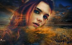 BETWEEN HEAVEN AND EARTH...digital work by Nemhesia. #nemhesia #digital #art #photoshop #photomanipulation #portrait #woman #sky #heaven #earth #redhead #hair #red #natural #landscape #ireland
