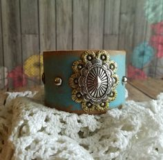 Silver Sunburst Oval Concho Turquoise Wide Leather Cuff Bracelet>  Native/ Southwestern/ Boho Gypsy/ Cowgirl/ Country Chic/ Sundance/ Flower by BellaNotteDesigns on Etsy
