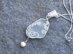 Sea Bubbles   Light green sea glass silver wire wrapped necklace with freshwater pearl
