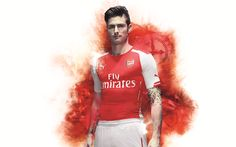 Download wallpapers Olivier Giroud, 4k, art, The Gunners, FC Arsenal, soccer, Premier League, footballers, Arsenal