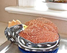 Chicken Sponge and Soap Dish In Black and by GreenLeafStudiosEtsy, $15.99