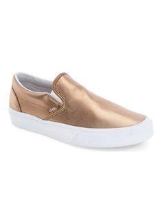 vans metallic rose gold slip-on sneakers