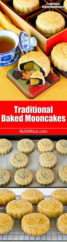 Traditional Baked Mooncakes are a real treat for the Mooncake Festival. These delicious pastries are filled with lotus seed and black sesame paste filling. Asian Desserts, Fun Desserts, Asian Recipes, Chinese Recipes, Best Dessert Recipes, Sweet Recipes, Drink Recipes, Banana Mug Cake, Cake Recept