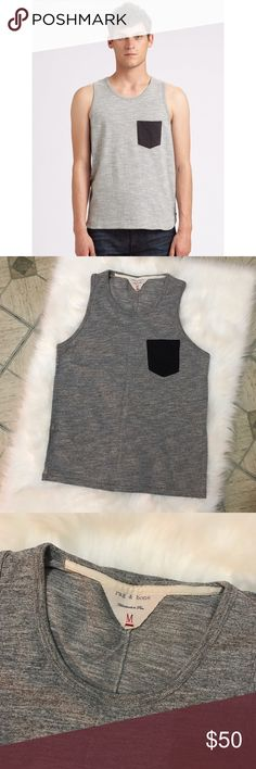 "rag & bone • mens • colorblock • gray pocket tank UA to UA 18.5"", length 26"". Red stitching. Reasonable offers are welcome. rag & bone Shirts Tank Tops"