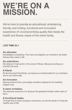 Lifetime Fitness Https Www Lifetimefitness Com Content Ltfcorp En Company Mission Html Lifetime Fitness Vision Statement Personal Mission Statement