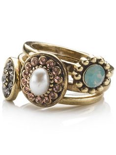 vintage jewelled stacking rings