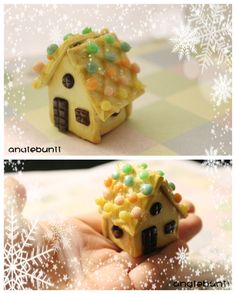 Miniature Gingerbread House (TUTORIAL LINK) by AyameMatsu.deviantart.com on @deviantART