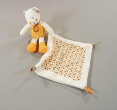 Doudou ours et mouchoir velours blanc et pois oranges Nicotoy