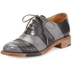 The Office of Angela Scott Mr. Smith Striped Perforated Leather Oxford (2.635 VEF) ❤ liked on Polyvore featuring shoes, oxfords, brogues, slate, leather wingtip shoes, brogue shoes, oxford lace up shoes, wingtip brogues and lace up shoes