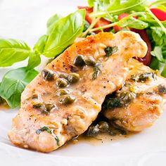 This classic chicken piccata is delicious when seasoned with capers, lemon, and fresh green parsley. #protein #myplate