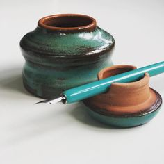 Earthenware ink pot for drawing and caligraphy inks.