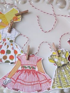 Paper doll clothes garland for a sweet paperdoll valentines party!