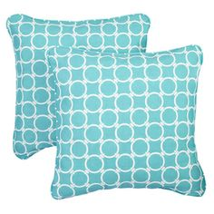 Linked Aqua Corded Indoor/ Outdoor Square Pillows (Set of 2) | Overstock.com Shopping - Big Discounts on Outdoor Cushions & Pillows