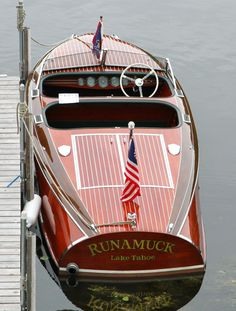 """Runamuck"" – a 1941 Chris-Craft 19′ Custom Barrelback - love Chris-Craft boats; someday I'll own one and name her ""The Other Woman"""