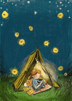 FIREFLIES by Heather Ross ...  Summer Reading Camp. Girl reading books :-)