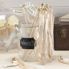 An alternative to the traditional throwing confetti without the mess. These wands have lace & gold satin ribbon with bells on the top, ideal for the wedding party to applaud the couple as they leave the aisle. Wedding Decorations On A Budget, Ceremony Decorations, Budget Wedding, Table Decorations, Wedding Wands, Wedding Ceremony, Wedding Favours, Reception, Ivory Wedding