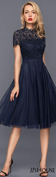 A-Line/Princess High Neck Knee-Length Tulle Cocktail Dress#JJsHouse #Cocktail dresses