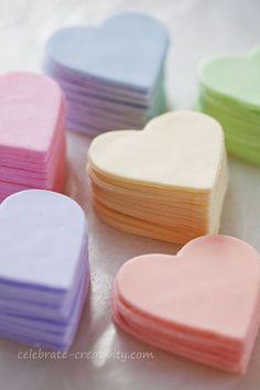 Fondant hearts that go atop sugar cookies
