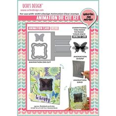 Fly through your next craft session with the Animation Card Die Cut and Clear Acrylic Stamps Combo from Uchi's Design. This kit includes everything needed to 3d Cards, Your Cards, Pop Up, Interactive Cards, Butterfly Cards, Craft Shop, Simon Says Stamp, Beautiful Butterflies, Clear Stamps