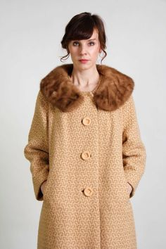 Wool & Fur Swing Coat with Bakelite Buttons by VeraVague // Granny Style