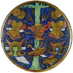 Giorgio Andreoli, called Giorgio da Gubbio  (Italian, ca. 1465/70–1553)  Plate with Tree and Arms, 1519  Majolica, with green, blue, pink, orange, and ochre glazes