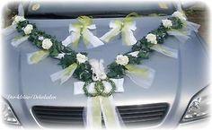 Autoschmuck Autogirlande Efeugirlande 2m Hochzeit 3 tlg grün  weiß