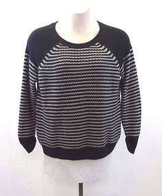 DAISY FUENTES Black and White Knit Sweater Women's Size XL 100% Acrylic #DaisyFuentes #Crewneck