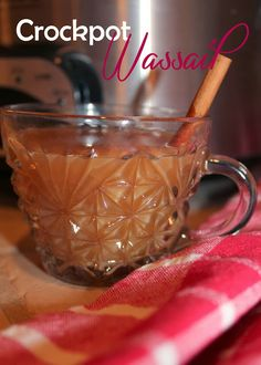 Crockpot Wassail 2 qt apple cider 2 c orange juice 1/2 c lemon juice 12 whole cloves 4 cinnamon sticks pinch ginger pinch nutmeg  Combine ingredients in crockpot.  Simmer for 4 hours on high heat or 8 hours on low heat.