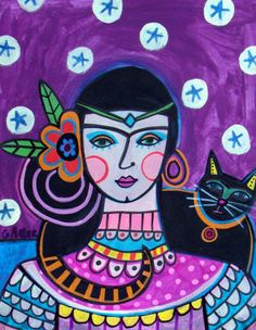 Mexican Folk Art Poster of Painting  Purple by HeatherGallerArt, $24.00