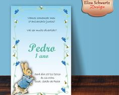 Convite Digital Peter Rabbit Menino