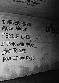 Ominous writings on the tunnel wall of an abandoned mental asylum. this is really creepy.
