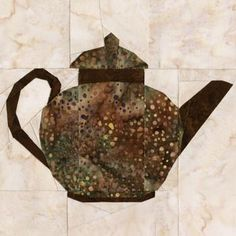 Brown Betty Teapot Quilt Block Pattern by Mary Carpenter Paper Pieced Quilt Patterns, Quilting Templates, Quilt Block Patterns, Pattern Blocks, Applique Patterns, Quilting Designs, Quilt Blocks, Quilting Ideas, Asian Quilts
