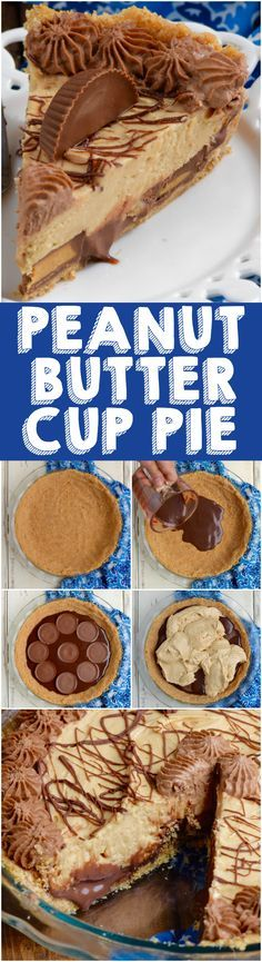 Peanut Butter Cup Pie is layer upon layer of absolute deliciousness! Peanut Butter Lovers, this is for you!This Peanut Butter Cup Pie is layer upon layer of absolute deliciousness! Peanut Butter Lovers, this is for you! Just Desserts, Delicious Desserts, Dessert Recipes, Yummy Food, Health Desserts, Recipes Dinner, Peanut Butter Desserts, Peanut Butter Cups, Peanut Butter Frosting