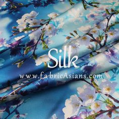 "Cherry Blossom. Blue Silk Fabric. Digital Printed Silk. Stretch Satin. 42"" wide. 19momme. SSB100636"