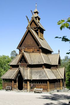 The stave church from Gol at the Norwegian Folk Museum in Oslo.
