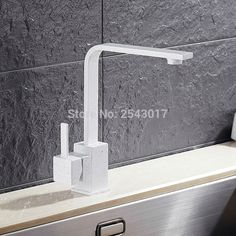 White Painted with dot Kitchen Swivel Faucet High Quality 360 Rotation FlexibleBasin Mixer Taps Deck Mounted Square Faucet ZR585 #Affiliate