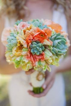 Succulent Bridal Bouquets {Trendy Tuesday} | Confetti Daydreams - Colourful succulent bouquet with coral poppies and peach tulips  ♥  ♥  ♥ LIKE US ON FB: www.facebook.com/confettidaydreams ♥  ♥  ♥ #Wedding #Succulents #Bouquets