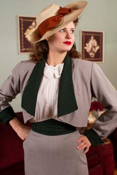 Vintage 1940s Suit Incredible Dove Grey Gabardine and by FabGabs
