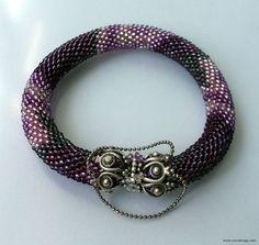Beaded Bracelet  Beaded Crochet Bracelet  Purple and by NazoDesign, $27.00