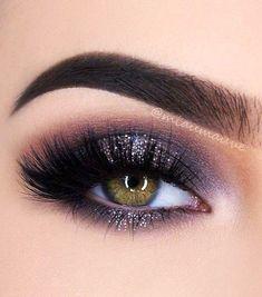 Lashes + Feline Liner + Dark Purple Smokey + Glitters
